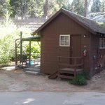 One of the Grant Grove Cabins...bath room and shower building behind.