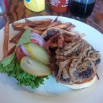 Yummy burger with carmelized onions