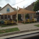 "Outdoor seating area @ the Blue Chair Village Tavern - ""where our Community gathers"""