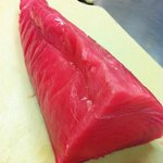 This is your yellow-fin tuna before we grill it.  Any fresher, it would still have fins!