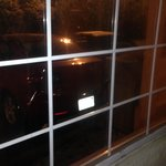 Can not see, but that is a bullet hole in the window!
