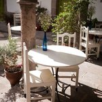 Outdoor tables in the courtyard