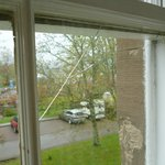 large crack in bedroom window