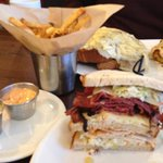 Huuugeee roast beef-turkey sandwich with delicious fries and sauces
