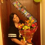 Birthday balloons and banners, plus flowers Steve n Antony organised for me for my Wife