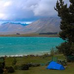 View from the back patio of YHA Lake Tekapo