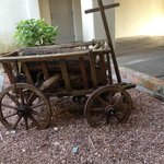 Possibly an old wood cart in the court yard.