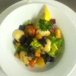 Scallop and black pudding salad
