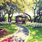 Our wedding setup near a beautiful gazebo!