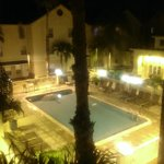 pool view at night from my room