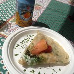 Lox with herbed cream cheese and capers - yum!