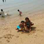 My son in beach