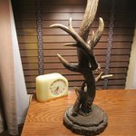 Loved this Deco clock and antler lamp