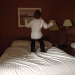 My little monkey jumping on the bed