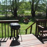 Back deck and fire pit.