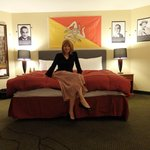 First night in the Mob Room at the 816 Hotel with the Sicilian flag prominently featured