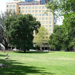 Hotel front from the park