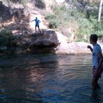 Jumping off the rocks into the River Cesse