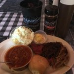 Pulled Pork Plate, with Potato Salad, Brunswick Stew, Deviled Egg, French Bread roll, and Sweet