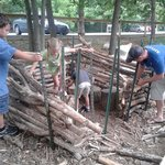 Building a small cabin in the exploring nature area