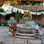 Courtyard decorated for the wedding reception
