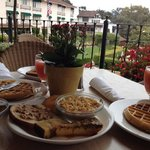 Delicious breakfast served upstairs where you can look out to the grounds of the hotel, and to t