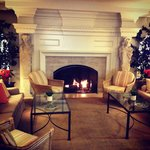 The gorgeous fireplace inside of the hotel