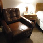 room with a leather chair