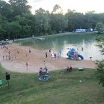 Volleyball court, beach, and swimming lake