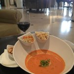Delicious gazpacho soup in the Westin Valencia's all-day bar/cafe