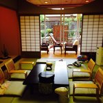 #708 room photo, comes with 4 tatami small entry room and sitting area by Japanese garden/outsid