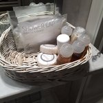 Basket of bathroom amenities