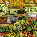 Chef Rob with a Finca Fresh harvest... photo by Matt Berglund