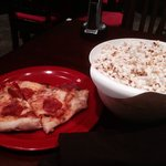 Omni pizza and small buttered popcorn