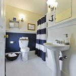 New tile floors and nautical feel baths