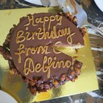surprise birthday cake from Casa Delfino!