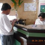 Ate Marlene at the front desk