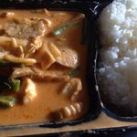 Red chicken curry.  Superb takeaway