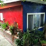 Art meets garden- a Frida Kahlo vibe in in this Beverly Grove LA B&B