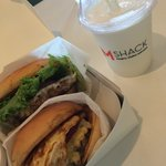Bacon cheeseburger with Swiss + Sunrise burger (with bacon and egg) + vanilla milkshake = YUM