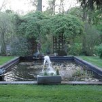 Fountain and pond in garden