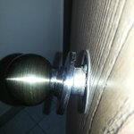 Broken bathroom door knob.