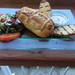 exohiko chicken, slow roasted and marinated with feta in pastry