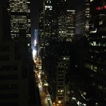 Looking from the hotel up towards the bottom of Time Square (East 46th Street)