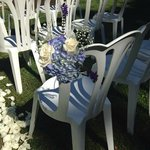 Beautiful chair flowers they made for my ceremony.