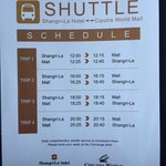 Free shuttle to nearby mall schedule.