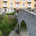 Hotel and the stone bridge approach