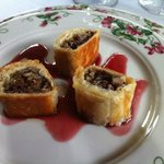 Duck strudel appetizer