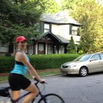 BFF*FEST 2014, Michelle photo bombing my photo of Pinecrest B&B on her bicycle.