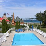 Pool view of the Mackinac Point Lighthouse